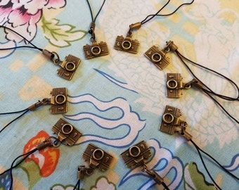 Bronze Camera Cellphone Charms Zipper Pulls