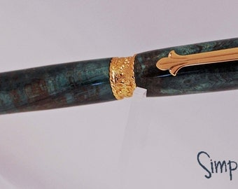 Handturned Faith, Hope, Love Green Quilted Maple Pen