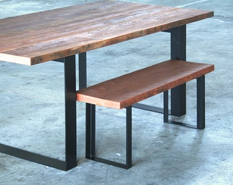 reclaimed wood bench with recycled content steel legs - modern industrial - urban salvage - by custom order