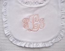 Baptism Bib  Baptism Cross Bib Christening Bib  Monogram Bib Ruffled Bib Baptism Gift Baby Dedication Gift