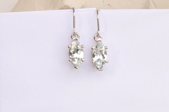 RESERVED Final Payment on Custom Order for Platinum Marquis Cut White Sapphire Dangle Earrings