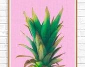 Tropical, Pineapple Print, Tropical Art Print, Pink Pineapple, Printable Wall Art, Downloadable Image, Modern Tropical Print, Print 13