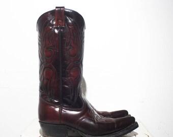 9 D | Men's Texas Brand Cowboy Boots Oxblood Leather Western Wear