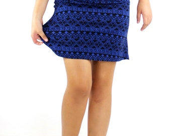 A-Line Mini Skirt Blue and Black Diamonds Cotton Spandex Knit fabric pull on A Line Biker business clothing casual Skirts Rose Temple