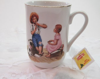 Vintage 1982 Norman Rockwell Museum Music Master Boy & Flute Collectible Tea Cup Mug