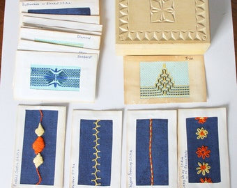 Embroidery Stitch Sample Patterns Wooden Box, Vinage Stitch Sample Pattern Cards in Keepsake Box