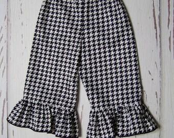 Houndstooth Ruffle Pants / Black / White / Infant / Baby / Girl / Toddler / Handmade / Custom Boutique Clothing