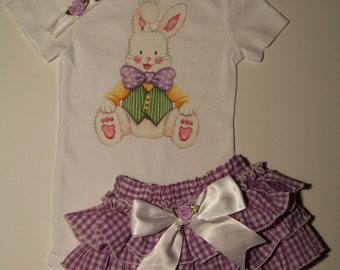 Easter Bunny Rabbit 3 pc Set /  Spring / Bodysuit + Ruffle Bloomer  / Precious / Cute / Girl / Infant / Baby/ Toddler/ Custom Boutique