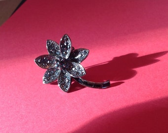 Flower Brooch Faux Marchesite with Baguette Stem
