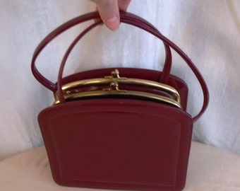 Vintage Red Patent Leather Box Purse 1950's Purse Mid Century Top Handle