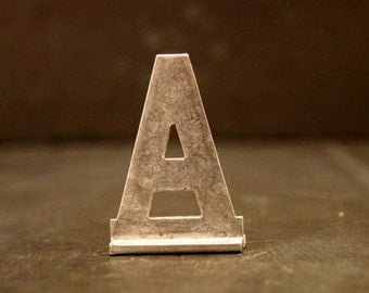 """Vintage Metal Sign Letter """"A"""" with Base, 1-13/16 inches tall (c.1950s) - Industrial Decor, Art Supply, Typography"""