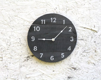 Round Clock. Reclaimed Wood wall clock. Charcoal Gray. Pallet Wood. ReCycled wood...distressed...Coastal Decor