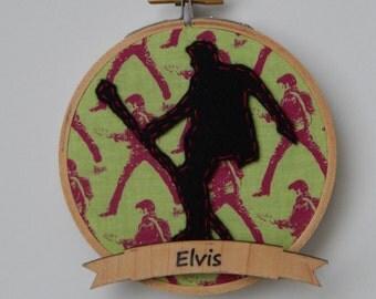 """4"""" Elvis Embroidery Hoop Ornament"""