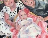 In Progress  Three Beautiful Grandchildren Original OIl Painting by Marlene Kurland 11 x 14