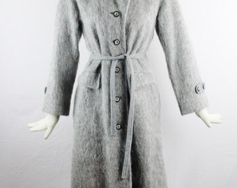 Vintage PIERRE CARDIN Gray TRENCH Wool Coat With Matching Belt Mohair