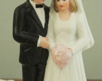 Wedding Cake Topper Bride and Groom Traditional Porcelain