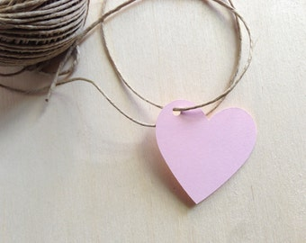 20 Pink Heart Tags, Price Tags, Party Favor Tags, Weddings, Showers, Gifts, Valentine's Day