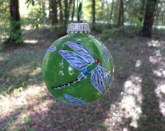 Hand Painted Glass Dragonfly Ornament  swirled green  background no183