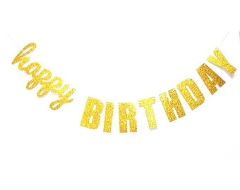 Happy Birthday banner, glitter gold birthday banner