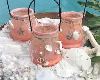 Beach Wedding Candles, Beach Wedding Decor, Seashell Candle Lantern, Flameless Candles Beach Decor Candle Holders, Beach Wedding Centerpiece