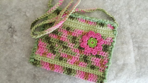 Crocheted purse in pink and green - 10% off!
