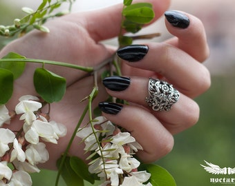 Silver Plated Midi Ring Wrap - Intricate Floral Knuckle Ring - Victorian Goth Jewelry