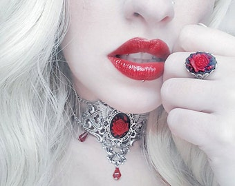 Ernelia Cameo Jewellery Set - Romantic Choker and Ring - Victorian Goth Jewelry