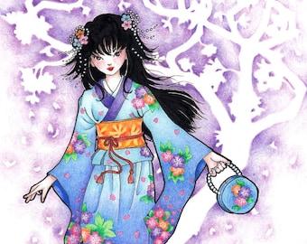 Spring Festival Japanese Art Print, Fantasy Art Print