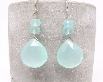 Aqua Chalcedony Earrings with Aqua Accents
