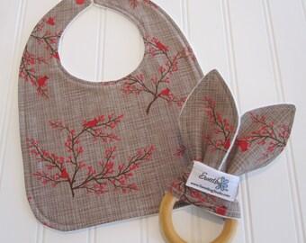 SALE/Newborn Gift Set/Infant Bib & Teether/Winter's Lane/Organic Fleece Back