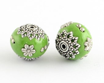 Green Antique Silver Metal Round Handmade Indonesia Beads -2