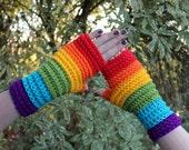 Rainbow Bright Ribbed Fingerless Crochet Gloves
