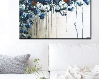 ORIGINAL Large Art Abstract Painting Floral Blue Flowers Colorful Modern White Blue Acrylic Painting Wall Art Home Decor Textured- Christine