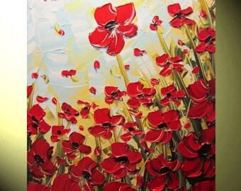 "Original Art Abstract Painting Red Poppies LARGE Art Canvas Wall Art Modern Textured Palette Knife Home Decor Gift 24x36"" Christine Krainock"