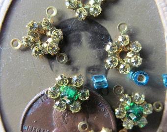 Vintage Tiny Swarovski Crystal Flower Connectors