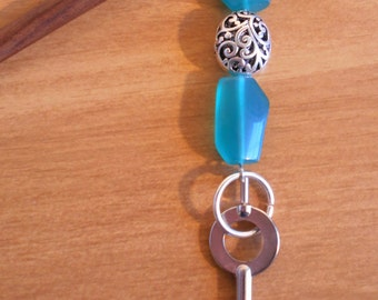 Teal Filigree - teal glass and silver hairstick with handcuff key