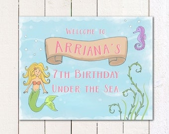 """Mermaid/ Under the Sea Printable 8.5x11"""" Welcome sign"""
