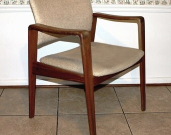 Danish Modern Vintage Mid Century Modern Teak Lounge Chair / Arm Chair by Arne Wahl Iversen for Komfort
