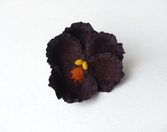 Felted pansy flower brooch, dark purple pansy, deep violet nuno felt flower, nunofelt broach
