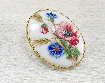 Vintage Porcleain Cameo Brooch, Red Blue Flower Brooch, Flower Cameo Brooch, Portrait Brooch, 1970s Retro Victorian Revival Jewelry