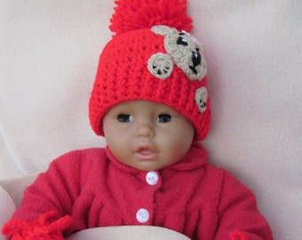 Teddy Bear Applique crochet baby hat, Baby Hat with Aplique, Baby Beanie, Photo Prop Beanie, Christmas Gift, Crochet Baby Hat, Newborn Hat