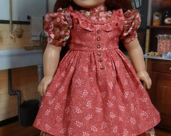 Prairie Ruffle Dress and Pinafore for American Girl or similar 18 inch doll-historical, pioneer