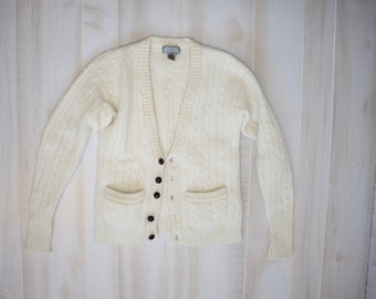 Vintage 80s Cardigan, 1980s Chunky Sweater, Cable Knit, Wool, Fuzzy, Grandpa