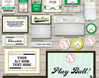 Baseball Party Printables - Black, Green & Yellow - full Printable Package - INSTANT DOWNLOAD with EDITABLE text - you personalize at home