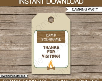 Camping Favor Tags - Thank You Tags - Birthday Party Favors - INSTANT DOWNLOAD with EDITABLE text template - you personalize at home