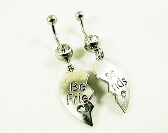 Belly Rings, Best Friends Charms With Rhinestones  Womens Gift Handmade