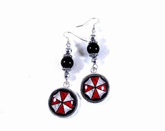 Silver Dangle Earrings,   Resident Evil,  Umbrella Corp Glass Image Earrings With black Pearls  Womens Gift  Handmade