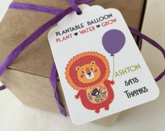 Lion Plantable seed paper favors - 50 seed paper boxed personalized favors - assemby required - kids Lion party