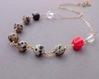 Simple Black Necklace with Dalmatian Jasper, Spinel, Rock Crystal and Czech Glass