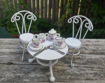 Pink and White Tea Set and Table and Two Chairs For Fairy Garden or Dollhouse Fun